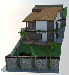 Architecture Building Design, Home Building Design, Building A House, Dream Home Design, House Design, Country Builders, Sloped Yard, Hillside House, Beautiful Homes