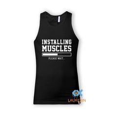 INSTALLING MUSCLES FUNNY Gold Print Slogan Singlets Vest Swag Sleeveless Bodybuilding stringers