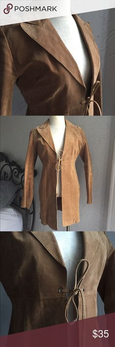 70's Leather Tie Jacket Super cute 70's leather tie coat!!!  Perfect length!  100% genuine leather Jackets & Coats