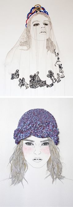 beautiful emroidered drawings by Izziyana Suhaimi.