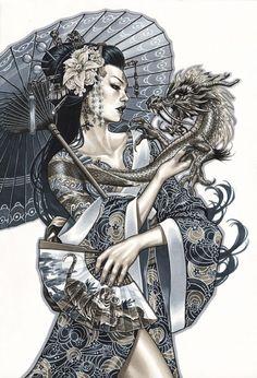 Geisha | Girl | Dragon | Flowers | Schirm | Frau | Woman | Drachen | Asian | asiatisch | Gewänder | Profim