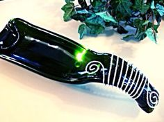 Green Bottle Dish Spoon Rest Melted Bottle Cheese Tray Candy Dish Wine by GypsyBottleBoutique on Etsy