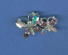 Sparkly Butterflies Costume Jewelry Pin Brooch Clear and Lavender Rhinestones - $5.94 Christmas in July free ship #chsort 0319