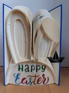 Book Folding, Happy Easter, Clothes Hanger, Bunt, Manualidades, Rabbit Ears, Book Art, Artworks, Birthday