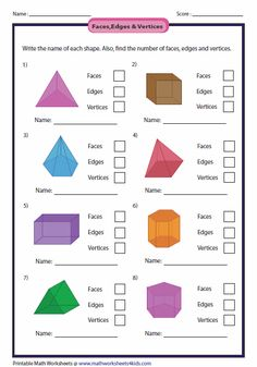 Education Discover Faces Edges and Vertices of Shapes Worksheets Math For Kids Fun Math Math Activities Shapes Activities Math Classroom Kindergarten Math Teaching Math Shapes Worksheets Grade 6 Math Worksheets 3d Shapes Worksheets, 2nd Grade Math Worksheets, Geometry Worksheets, Third Grade Math, Math Classroom, Kindergarten Math, Teaching Math, Math For Kids, Fun Math