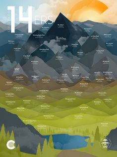 Colorado Fourteeners 18x24 Print by DaydreamHunter on Etsy