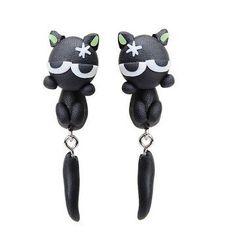 3D Ohrstecker Katze schwarz - 1 Paar