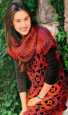 crochet circular motif tunic