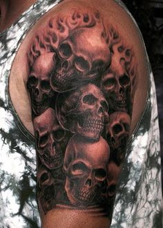 Skull Half Sleeve Tattoos For Women Best tattoo designs for effective . Little Tattoos, Love Tattoos, Body Art Tattoos, Tribal Tattoos, Tattoos For Guys, 3d Tattoos, Awesome Tattoos, Skull Sleeve Tattoos, Elbow Tattoos