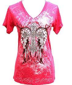 Women Shirt Western Cowgirl Cross W/ Wing Pink V-Neck Top Zebra Angel Rhinestone #Atlas #EmbellishedTee