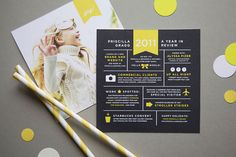 black, white and yellow. A colour scheme after our own hearts! #Invitation #christmas card