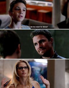The look he gives her when William spills the beans that he and Felicity eat ice cream. You can't be made at her, it's Felicity!