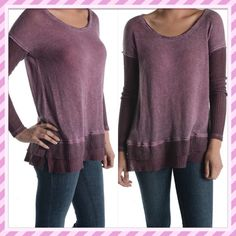 Tparty cute boutique top Super cute light weight, loose fitted top with waffle sleeve and ruffle. Dark lavender. ⭐️ price is firm unless bundled. Tparty Tops