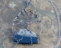 Blue Agate Slice Tree of Life by BazaarCharlotte on Etsy