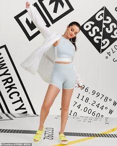 Selena Gomez suits up in a halter top and biker shorts for PUMA Top Fashion Hairstyles Selena Gomez Shoes, Selena Gomez Fotos, Selena Gomez Cute, Selena Gomez Outfits, Selena Gomez Pictures, Selena Gomez Adidas, Cali, Michael Jackson, Selena Gomez Wallpaper
