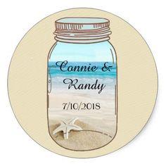 Mason Jar Beach Wedding Sticker