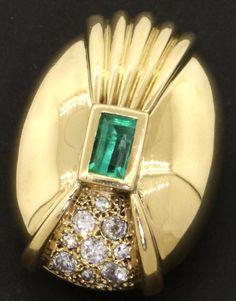 Vintage heavy 18K gold 1.24CTW diamond/Green tourmaline slide pendant