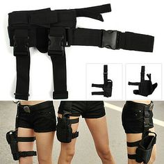 Used to hold handgun, pistol & revolver. Tactical Wrap-around Thigh Leg Pistol Gun Holster Pouch Waterproof Adjustable UK. Can be attached in the wrist belt and fasten to the leg. Cosplay Outfits, Edgy Outfits, Mode Outfits, Girl Outfits, Fashion Outfits, Drop Leg Holster, Pistol Holster, Holsters, Knife Holster