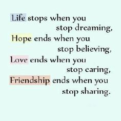 Keep your life, hope, love & friendship
