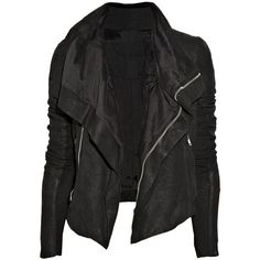 Rick Owens Textured-leather biker jacket ❤ liked on Polyvore featuring outerwear, jackets, tops, leather jacket, moto jackets, rider jacket, rick owens, textured leather jacket and biker jackets