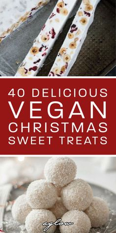 40 Delicious Vegan Christmas Sweet Snacks & Desserts These snacks and desserts are totally vegan. From vegan Christmas brownies, to vegan peppermint cookies. They'll make the holiday season unforgettable. Holiday Desserts, Holiday Baking, Holiday Recipes, Best Christmas Recipes, Vegan Christmas Cookies, Christmas Brownies, Christmas Sweets, Christmas Foods, Vegan Treats