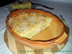 Sufleu de broccoli cu mușchi file și brânză de burduf