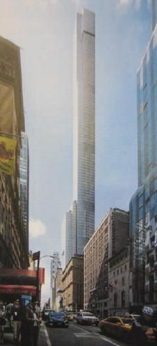 "Unofficial rendering of latest ""Billionaire's Row"" supertower to go up at 225 West 57th Street. (Adrian Smith and Gordon Gill Architects.) The tower, which is intended to rise to over 1,400 feet, will house a Nordstrom department store at its base, and residences and a hotel above the store."