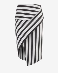 mason by michelle mason Asymmetric Wrap Stripe Skirt: A piece that transitions easily between seasons-- the asymmetric wrap skirt. Zipper closure at rear. Lined. In black/chalky white stripes. Fabric: 49% viscose/48% polyester/3% elastane Lining: 100% polyester Model Measurements: Height 5'10; Waist 25 ; ...