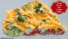 Cheesy Broccoli Ham and Pepper Frittata is a delicious meal full of protein and perfect for a meal any time of the day.