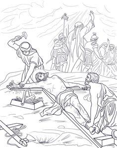 Undicesima stazione - Gesù è inchiodato sulla croce Disegno da colorare