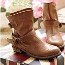 Zapatos de mujer Cuero Artificial Tacón Ancho Dedo redondo/Botas de Moto Botines / Botines Botas Informal Negro/Marrón