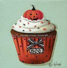 Halloween Cupcake Print Pumpkin by catherineholman on Etsy, $16.95