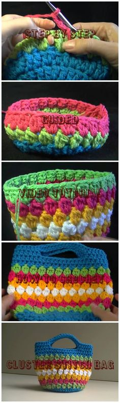 Step By Step Guided Video Tutorial How To Crochet Cluster Stitch Bag