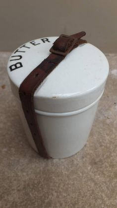 Edwardian Butter Pot with its Original Leather Strap in Kitchenalia from The Antique Kitchen