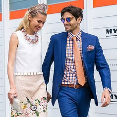 Cute shot of us snapped by the gorgeous @friendinfashion yesterday  giggles and smiles at @flemingtonvrc  thanks for having us @schweppesaus @lexusaustralia @swisseau  outfits from @theoutnet & @dombagnato @demillinery