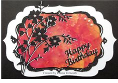 Birthday card using spellbinders & memory box dies, tim holtz alcohol ink background.