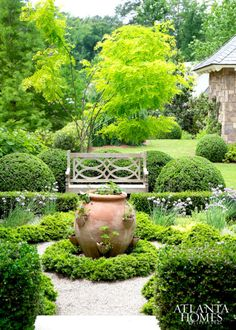 A herb garden designed by Alex Smith provides a tranquil spot for sitting and for gathering thyme, chives, basil, and oregano.