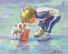Title: WONDER  Little blonde boy on the beach with his dog. I wonder what they see!!  This is a heavy duty archival canvas giclee in multiple sizes.