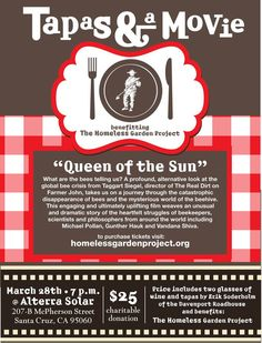 Santa Cruz, CA Allterra Solar is proud to partner with the Homeless Garden Project to present the film, Queen of the Sun, an engaging and uplifting film by the director of THE REAL DIRT ON FARMER JOHN.    Tak… Click flyer for more >>