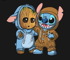 Groot [as Stitch - as a dog] & Stitch [as Baby Groot] (Drawing by Unknown) Cute Disney Drawings, Cute Animal Drawings, Kawaii Drawings, Cute Drawings, Cartoon Wallpaper Iphone, Disney Phone Wallpaper, Cute Cartoon Wallpapers, Baby Wallpaper, Disney Stitch