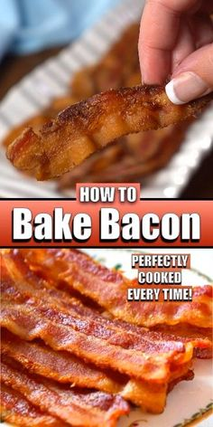 Oven Baked Bacon, Bacon In The Oven, Fries In The Oven, Perfect Oven Bacon, Best Breakfast Recipes, Breakfast Dishes, Brunch Recipes, Snack Recipes, Snacks