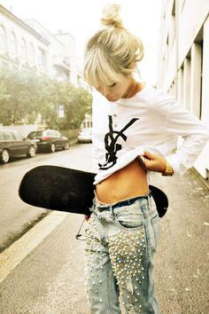Skater girl. #Jeans #Hair #Shirt
