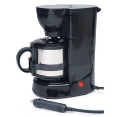 Roadpro Quick Cup Coffee Maker with 16 oz. Metal Carafe: 12 volt keurig coffee maker, coffee maker for car, 12 volt coffee for rv Travel Mug Coffee, Camping Coffee, Coffee Mugs, Coffee Lovers, Coffee Time, Best Drip Coffee Maker, Portable Coffee Maker, Coffee Making Machine, Coffee Machines