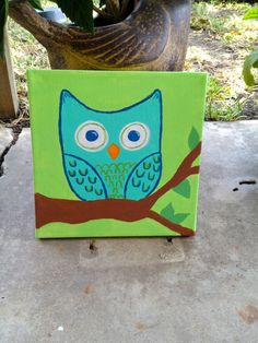 Owl 10 X 10 Canvas Painting by SkipToTheGoodPart on Etsy, $15.00
