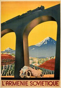 Sergey Igumnov - Original Vintage Art Deco Intourist Poster Soviet Armenia Ft Classic Car and Train Viria, Original Vintage, Vintage Art, Armenia Travel, Propaganda Art, Fine Art Prints, Canvas Prints, Tourism Poster, Country Scenes