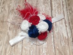 Red white and blue rosette headband couture by ChloeRoseCouture