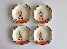 A set of 4 Handpainted Soho Pottery Solian Ware Petit Fours