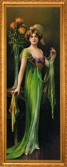 This beauty is wearing a stunning green dress and a log string of pearls with a tall vase of yellow flowers behind her. Single matt with extravagant grooving set behind glass in a marvelous gold frame. C. Allen Gilbert