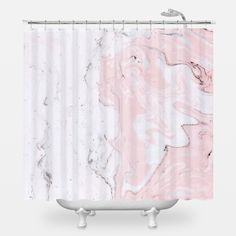 White Marble Shower Curtain Girls Bathroom