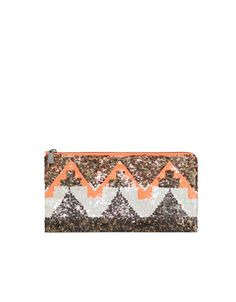 GEOMETRIC PRINT SEQUINNED WALLET